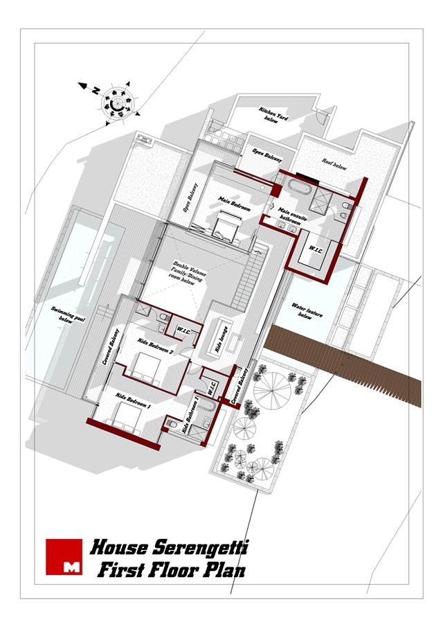 First floor plan of Serengeti House by Nico van der Meulen Architects