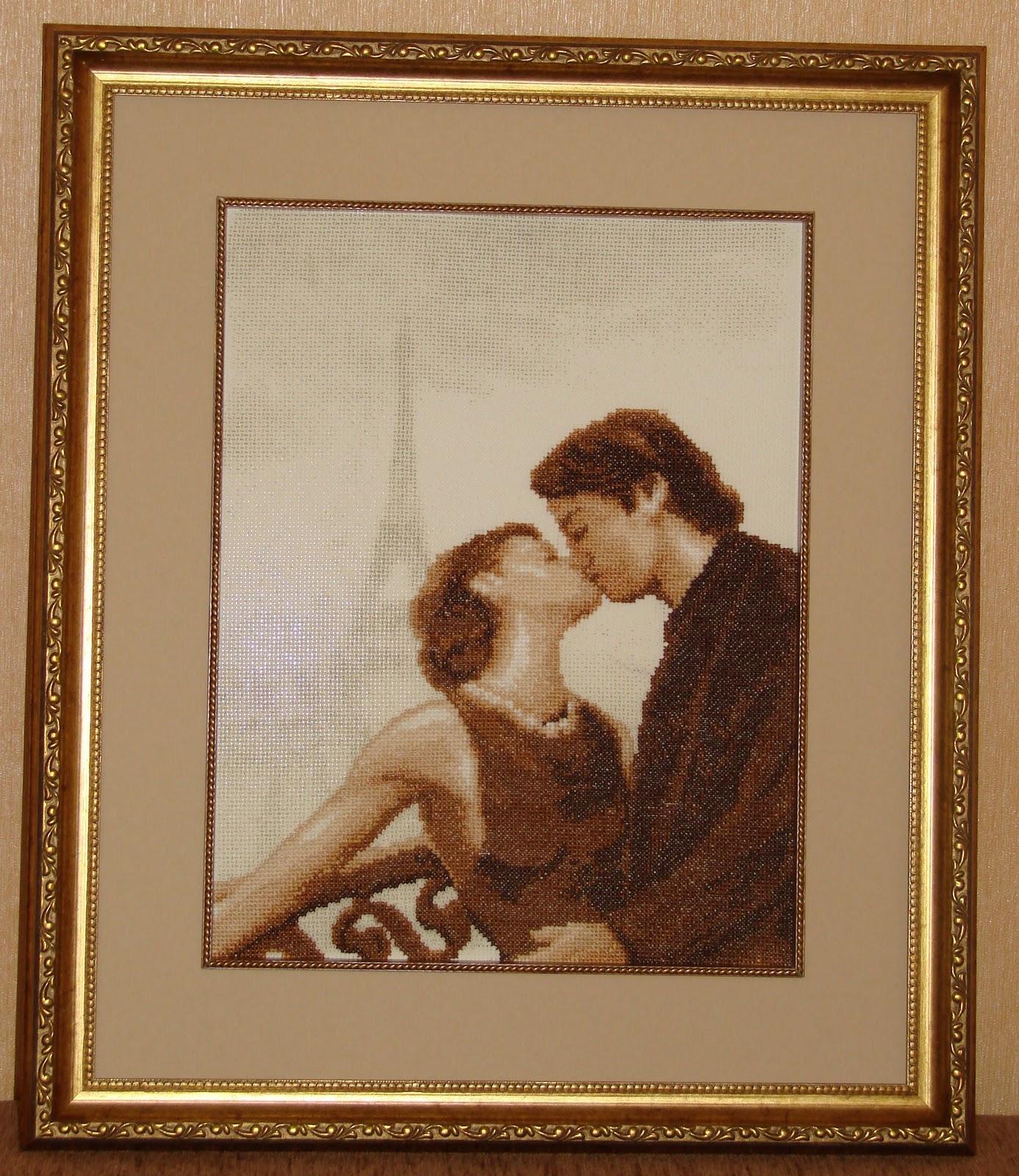 Поцелуй в париже вышивка