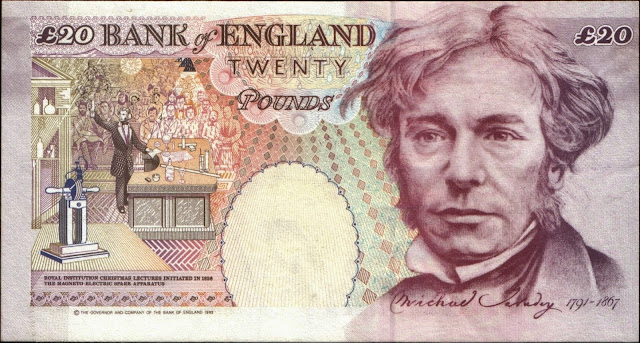 British Banknotes 20 Pound Sterling note 1993 Michael Faraday