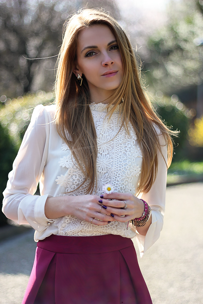 romantic white lace shirt, midi purple skirt, spring outfit