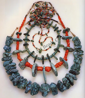 Typical South-western jewelry assembly of turquoise, coral, bone, shell, and silver beads. Southwestern tribes valued shell beads over those of glass. Shells symbolize water to a people for whom rainfall is crucial to survival. Among the southwestern Indians, turquoise and silver jewelry became an important repository of wealth. 123 These necklaces were probably made between 1920 and 1950, but the disk and tubular beads are ancient forms. Long center turquoise tubular bead, second necklace from bottom: length, 3.5 cm.