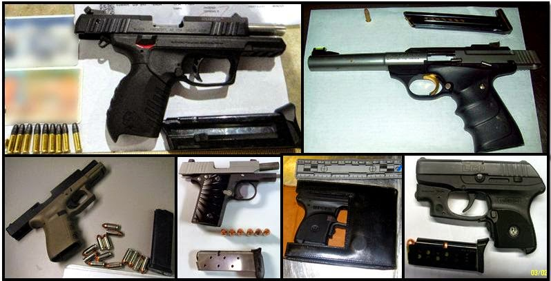 Clockwise from top left, firearms discovered in carry on bags at: TPA, MCI, TRI, IND, ATL & LYH
