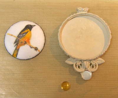 copper with painted enamel of oriole bird set in silver metal clay