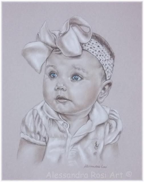 sepia portrait of a child, custom portraits by portrait artist