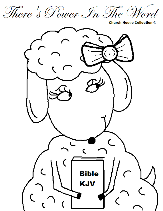There's Power In The Word Sheep Coloring Page For Sunday School Kids title=