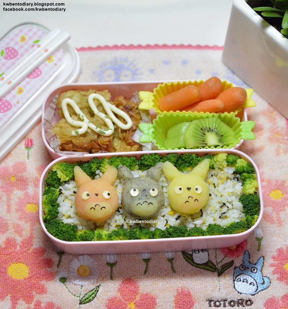 Karenwee 39 s bento diary bento2015 may11 totoro mashed potato for Side dishes for fried fish