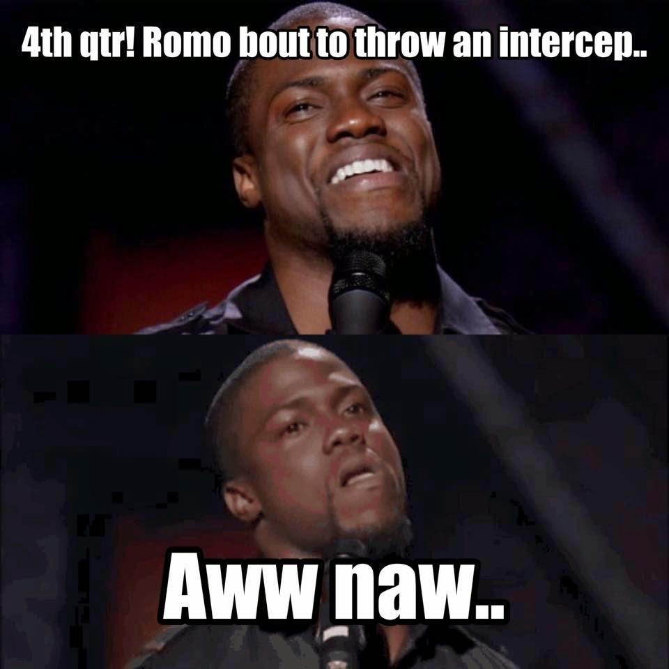 4th qtr! romo bout to throw an intercep... aww naw..