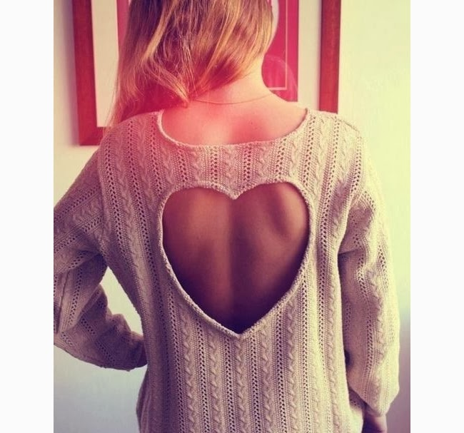 Cute and Lovely Heart Shaped Open Back Sweater