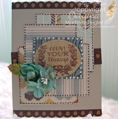 fall blue scraps card  front
