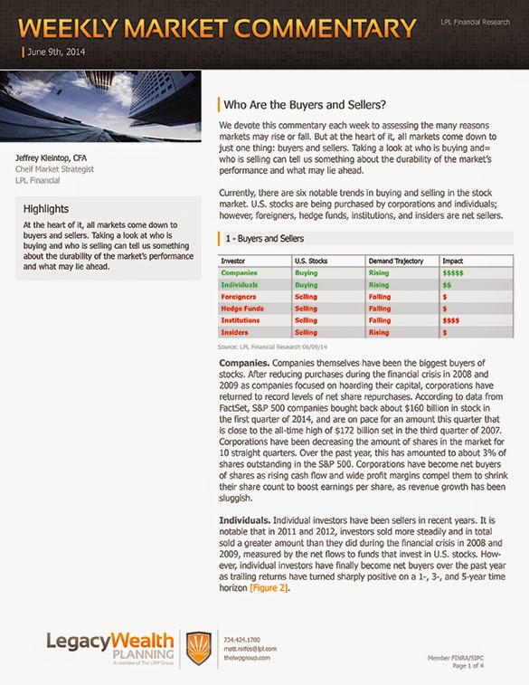 The LPL Financial Weekly Market Commentary from Legacy Wealth Planning – June 9, 2014