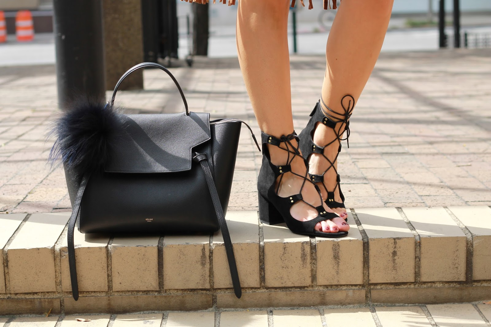 black celine belt bag 2015, black zara lace up heels, lace up heels