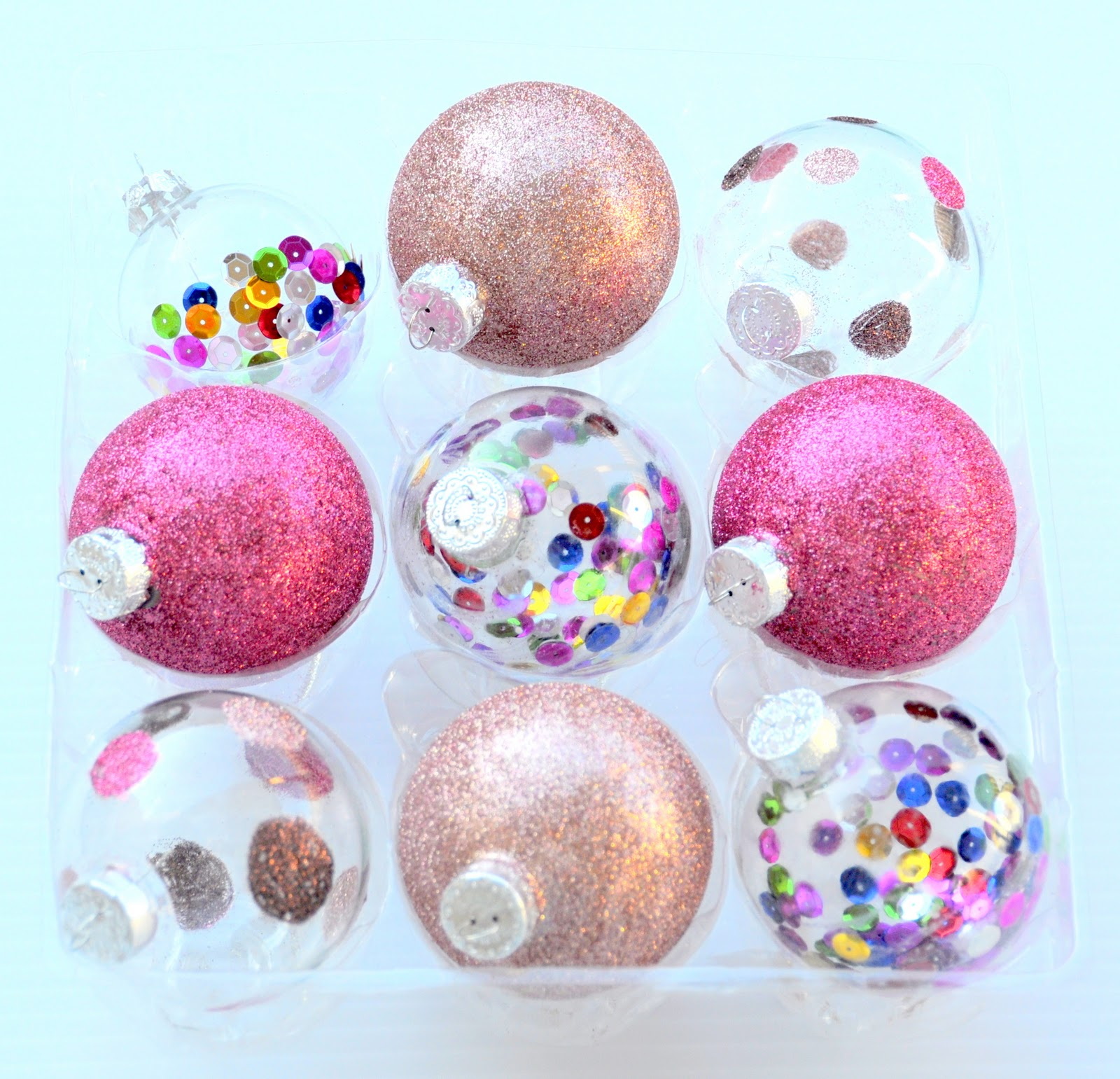 Glue for glass ornaments - Last Year I Made Gold Glitter Polka Dot Ornaments But This Year I Wanted More Color So I Used Glass Ornaments To Make A Range Of Pink Glittered