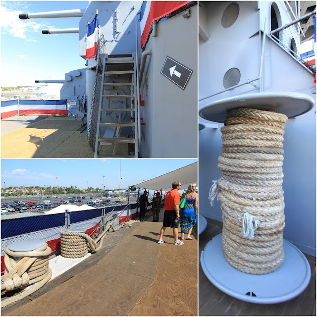 Look at the thick rope which used as mooring lines to hold the floating Battleship USS IOWA BB61 in Los Angeles, California, USA