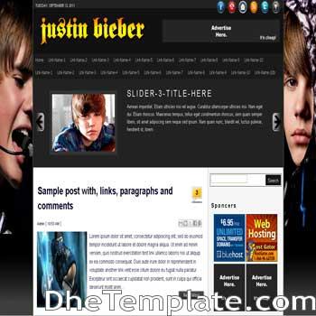Justin Bieber Blogger Template | DheTemplate