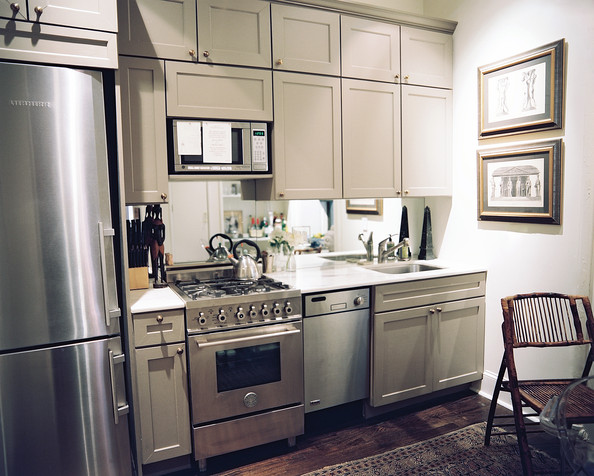 small kitchen with stainless steel appliances