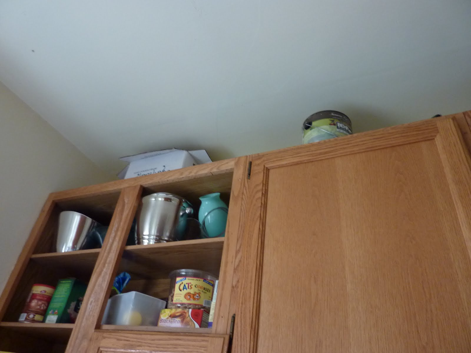 Tip: If you have it, use the space above the cabinets to store