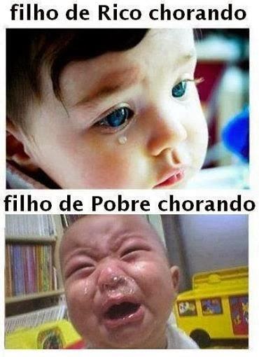 Filho de pobre chorando vs filho de rico chorando