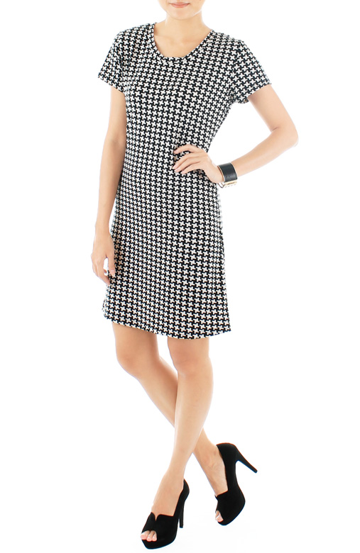 Blythe Houndstooth Dress – Black