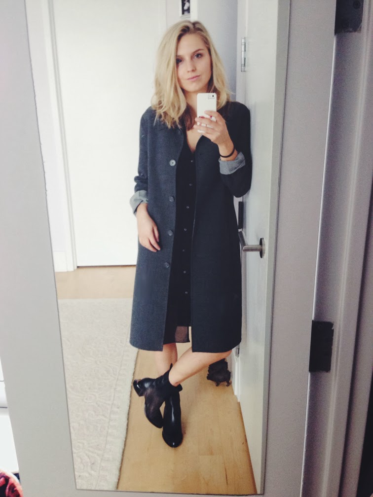 Fashion Over Reason selfie, Club Monaco long grey overcoat, Helmut Lang black voile dress, Alexander Wang Anouck boots