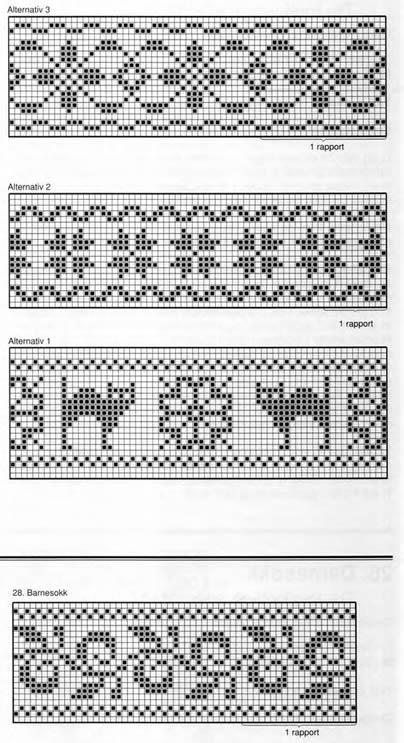 Схемы вязания норвежского узора для носок спицами