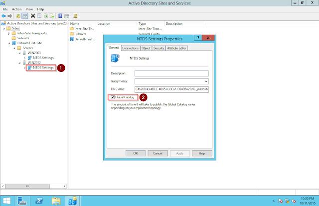 Weryfikacja przechowywania wykazu globalnego w Windows 2012 Server