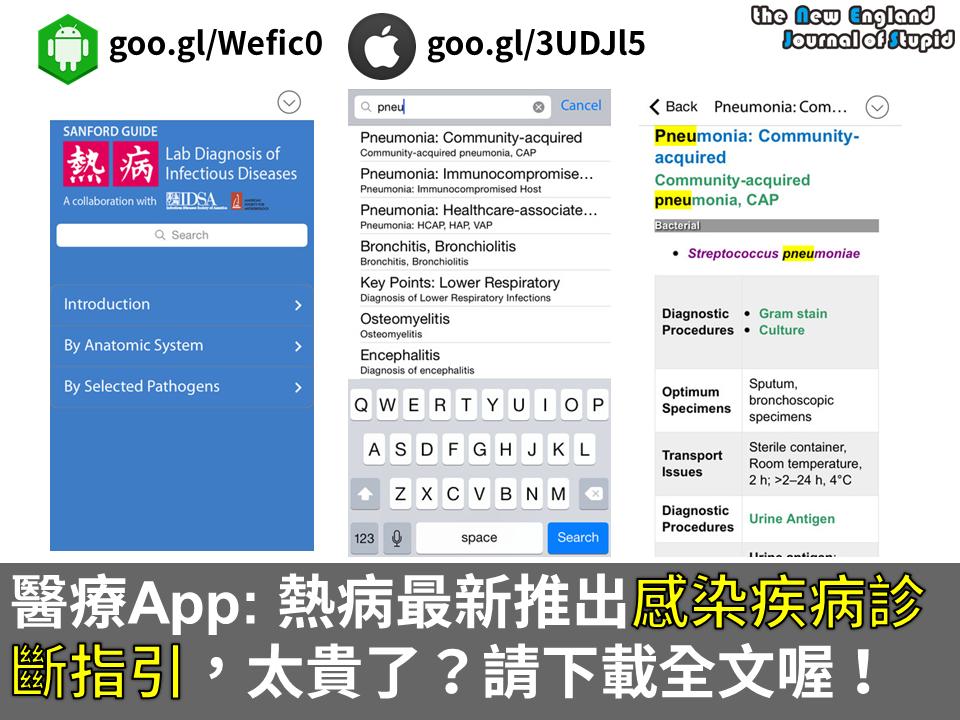 [醫療App] 熱病 (Sanford Guide) 最新推出感染疾病診斷指引,太貴了?直接下載全文吧!