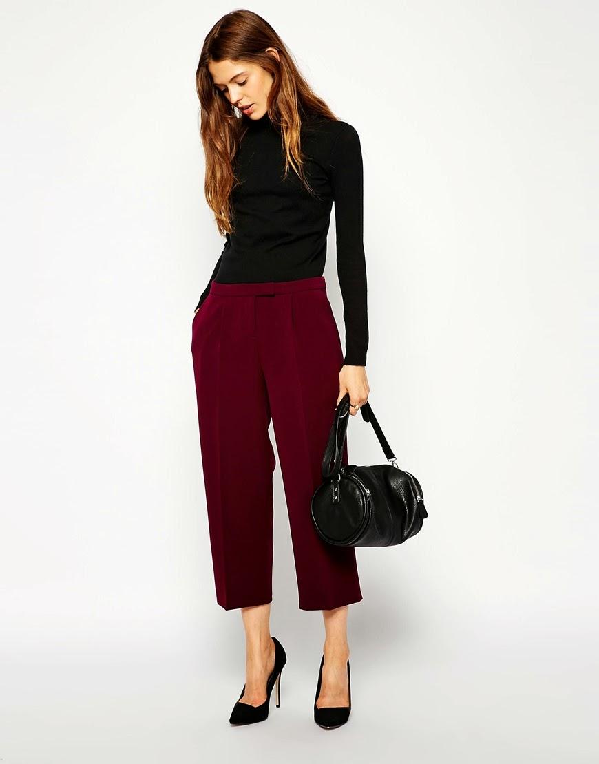burgundy wide leg trousers