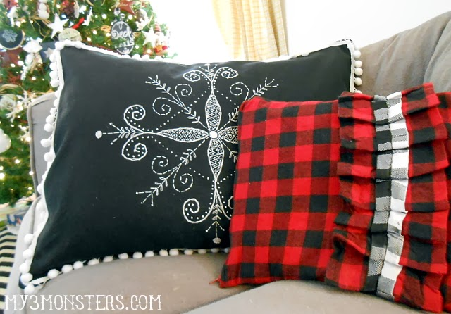 Embroidered Snowflake Pillow Cover at my3monsters.com