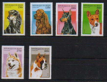 1997年ベニン共和国 サルーキ アイリッシュ・セター ドーベルマン バセンジー  シベリアン・ハスキー ボクサーの切手