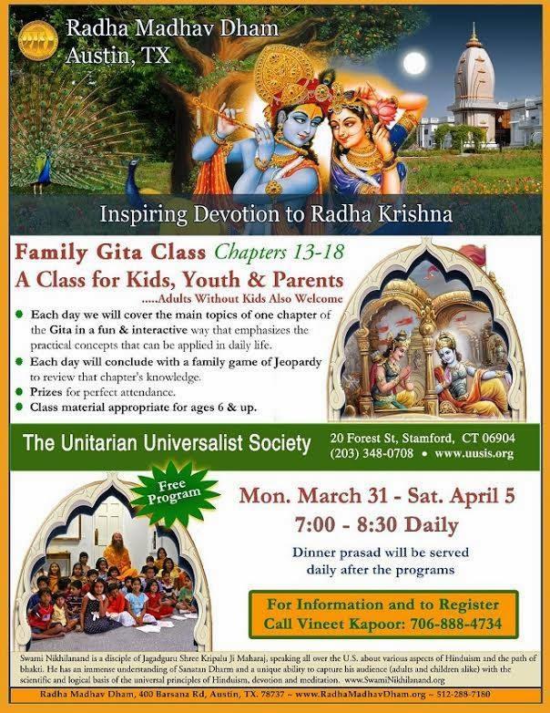 Bhagavad Gita at Unitarian Universalist Society Stamford by Kripalu Ji Maharaj disciple