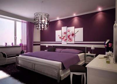 Kamar Tidur dengan warna cat nuansa violet
