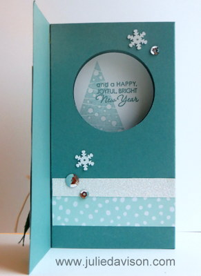 Stampin' Up! Festival of Trees Diorama Card (inside) -- check site for tutorial #stampinup www.juliedavison.com