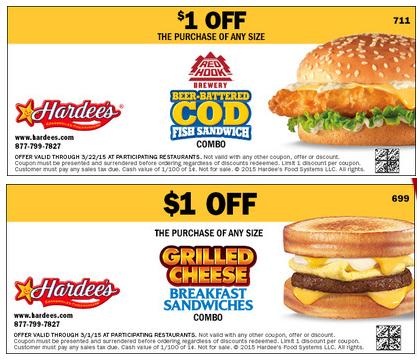 Hardee's printable coupons