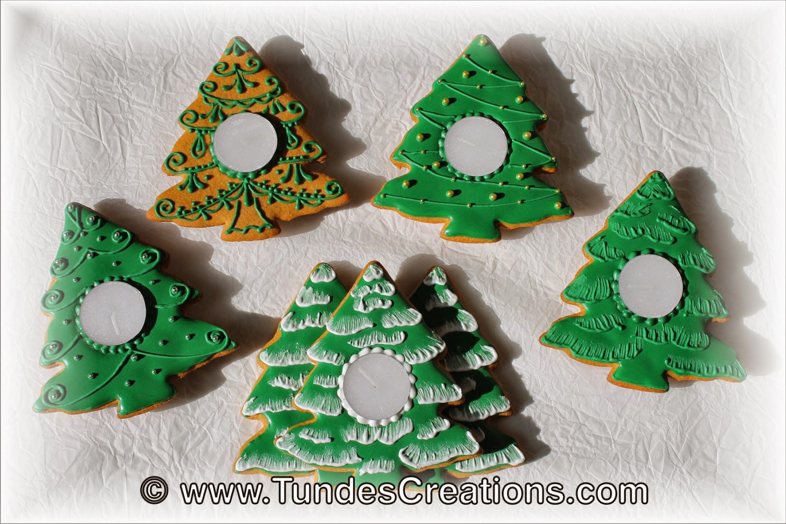Christmas tree cookie candle holders