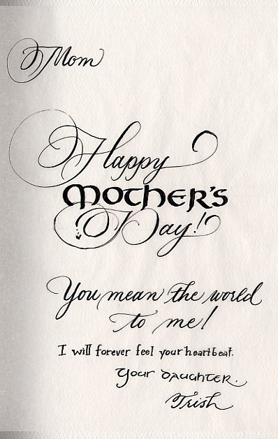 Trish Taylor Calligraphy Mother 39 S Day Card Etc 2003