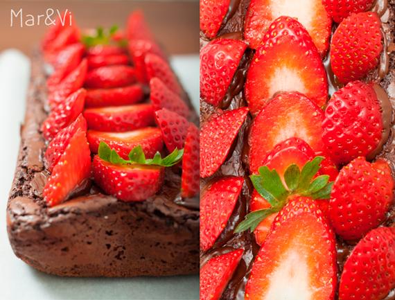 como preparar Brownie con fresas