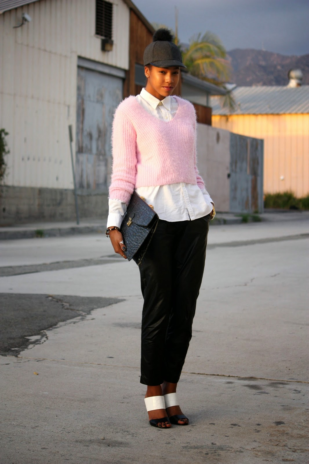 Think Pink outfit details Bcbgeneration hat Ralph Lauren top H&M sweater Piper Project leather pants Charles David shoes