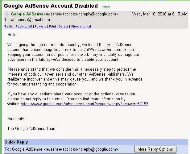 email google adsense disabled