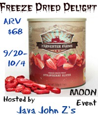 Enter to win a four pack of freeze-dried veggies. Giveaway ends 10/4.