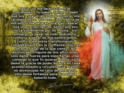 jesucristo no me dejes sola (oracion diario la divina misericordia de santa faustina)