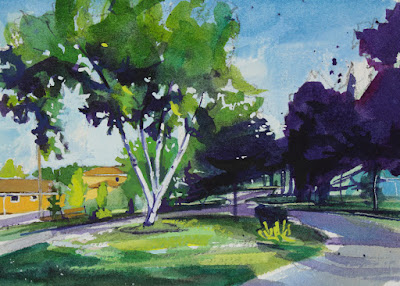 Watercolor painting of a walking path in williamsville, NY.