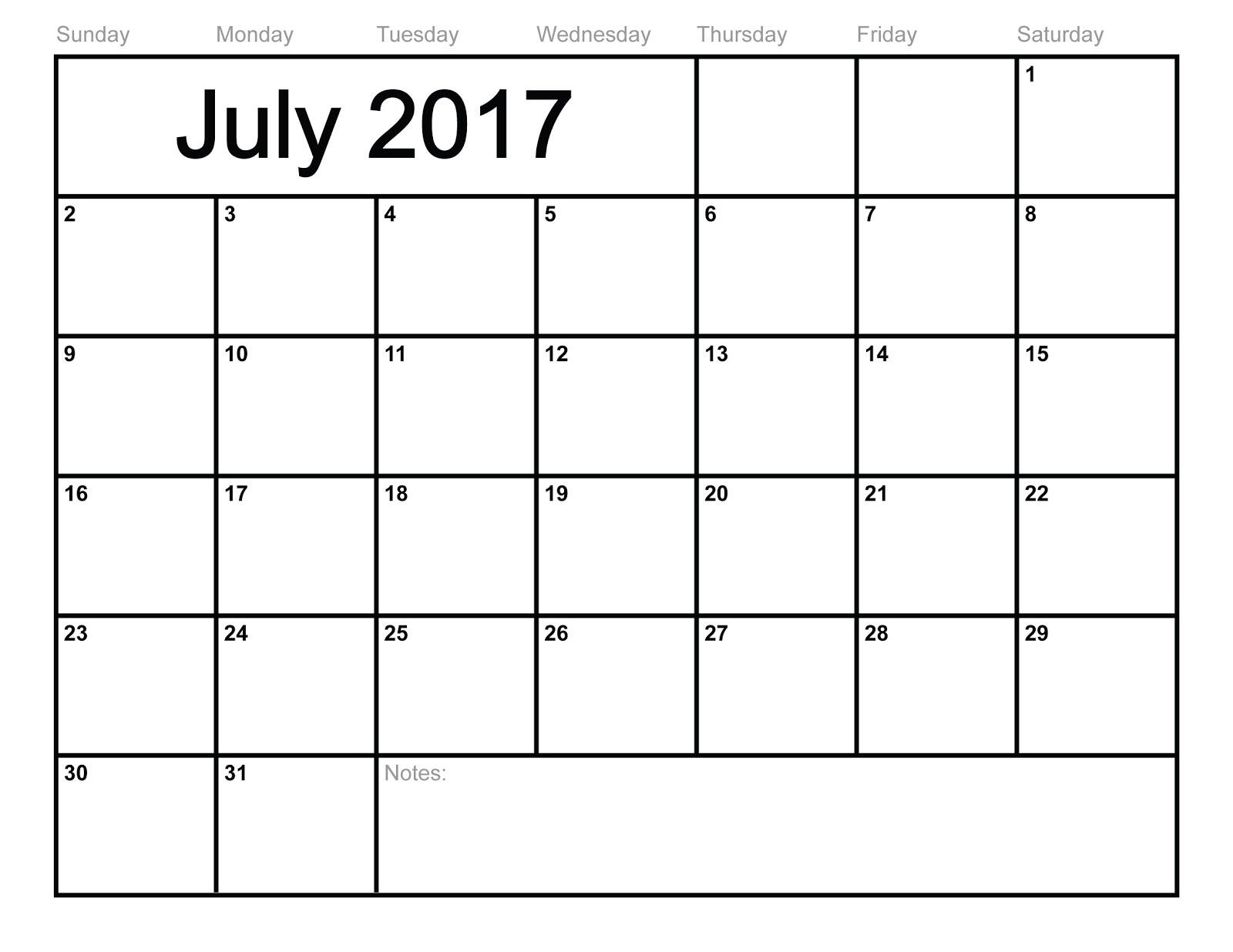 ... Calendar Printable | July 2017 Calendar Template - Blank Calendar 2017
