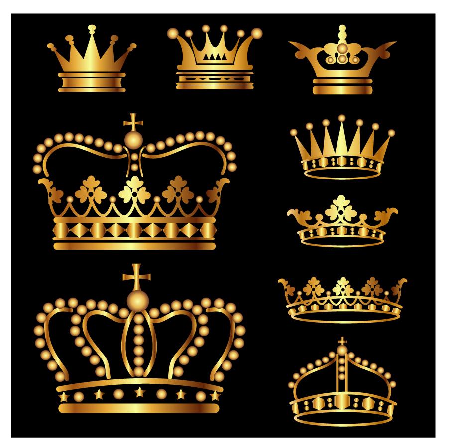 高貴に輝く黄金の王冠 vector crown gold symbol tiara nobility luxury イラスト素材