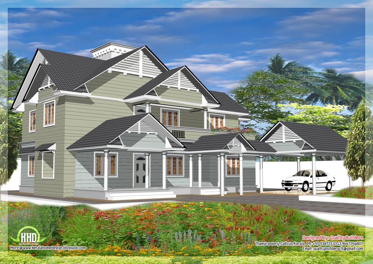 4 Bedroom Western style house - Kerala home design and floor plans