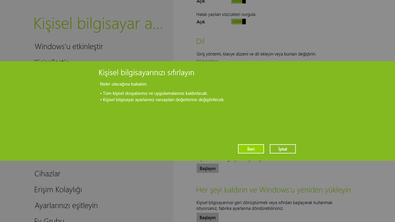 Windows 8'e Programsız Format Atmak