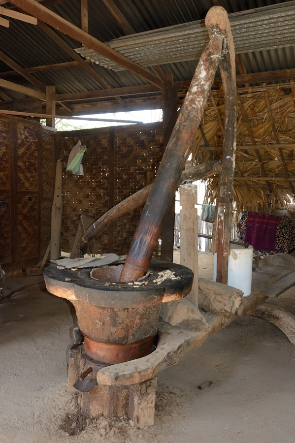 Peanut oil press in Min Nan Thu village at Nyaung U near Bagan, Myanmar