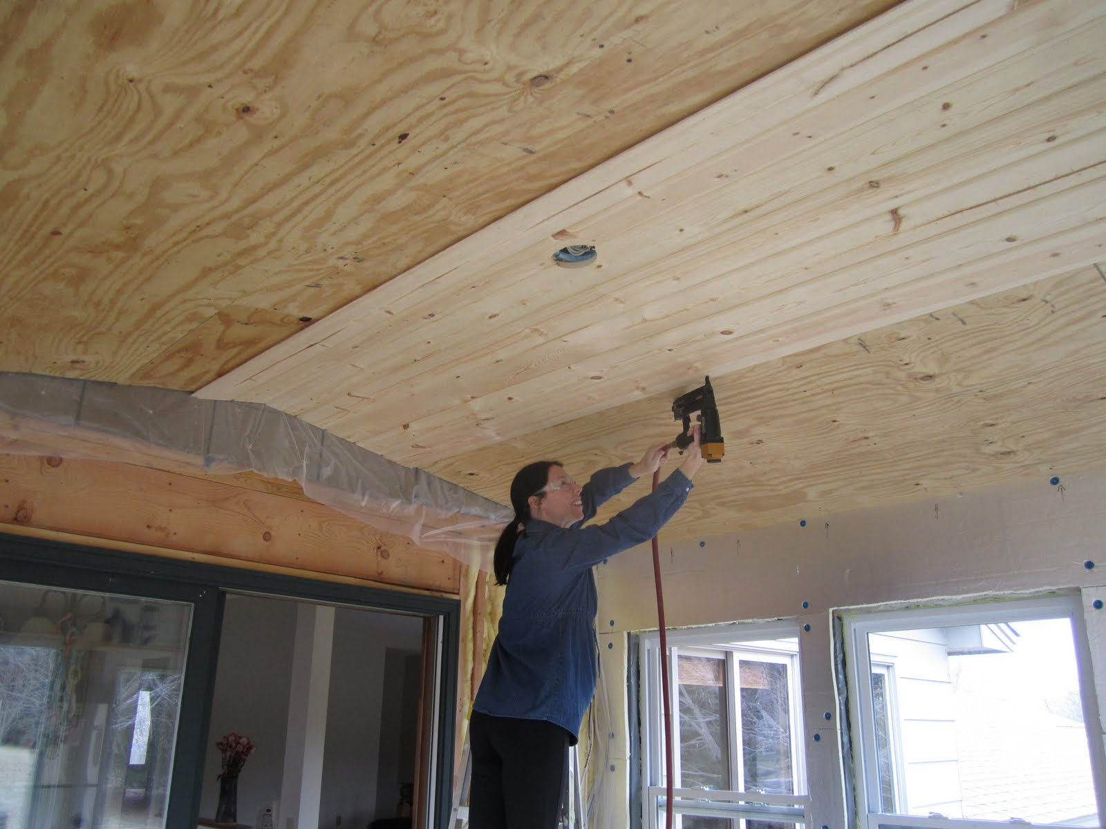 The Savstrom Family Blog: Knotty pine ceiling in the sunroom