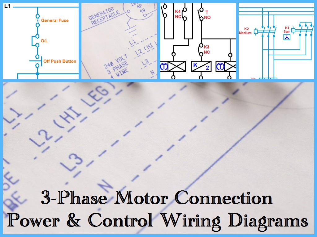 three phase motor power control wiring diagrams rh electricaltechnology org 3 Phase Wiring Schematic 12 Lead Generator Wiring Diagrams