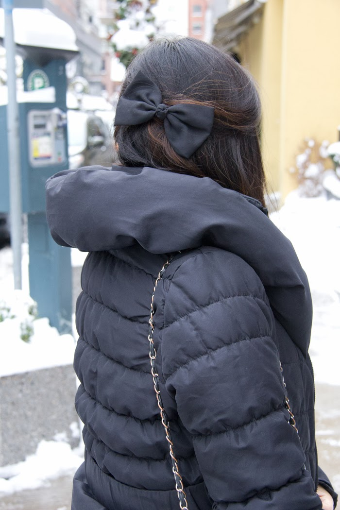 hair-accessory, black-bow, padded-black-coat