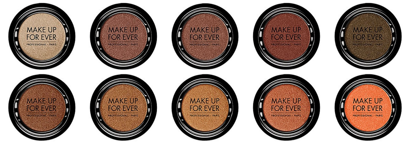 Make Up For Ever Artist Shadow Top from left: I542 Pinky Clay;I544 Pink Granite; I550 Olive Gray; I606 Pinky Earth; I628 Reptile Bottom from left: I634 Praline; I648 Golden Fawn; I662 Amber Brown; I702 Mahogany; I722 Mandarin